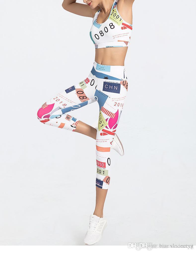 Summer Girl Yoga tute tute set per donna Fitness Sport corridore Suit del reggiseno ansima gli insiemi femminili Designer lettera delle donne di stampa