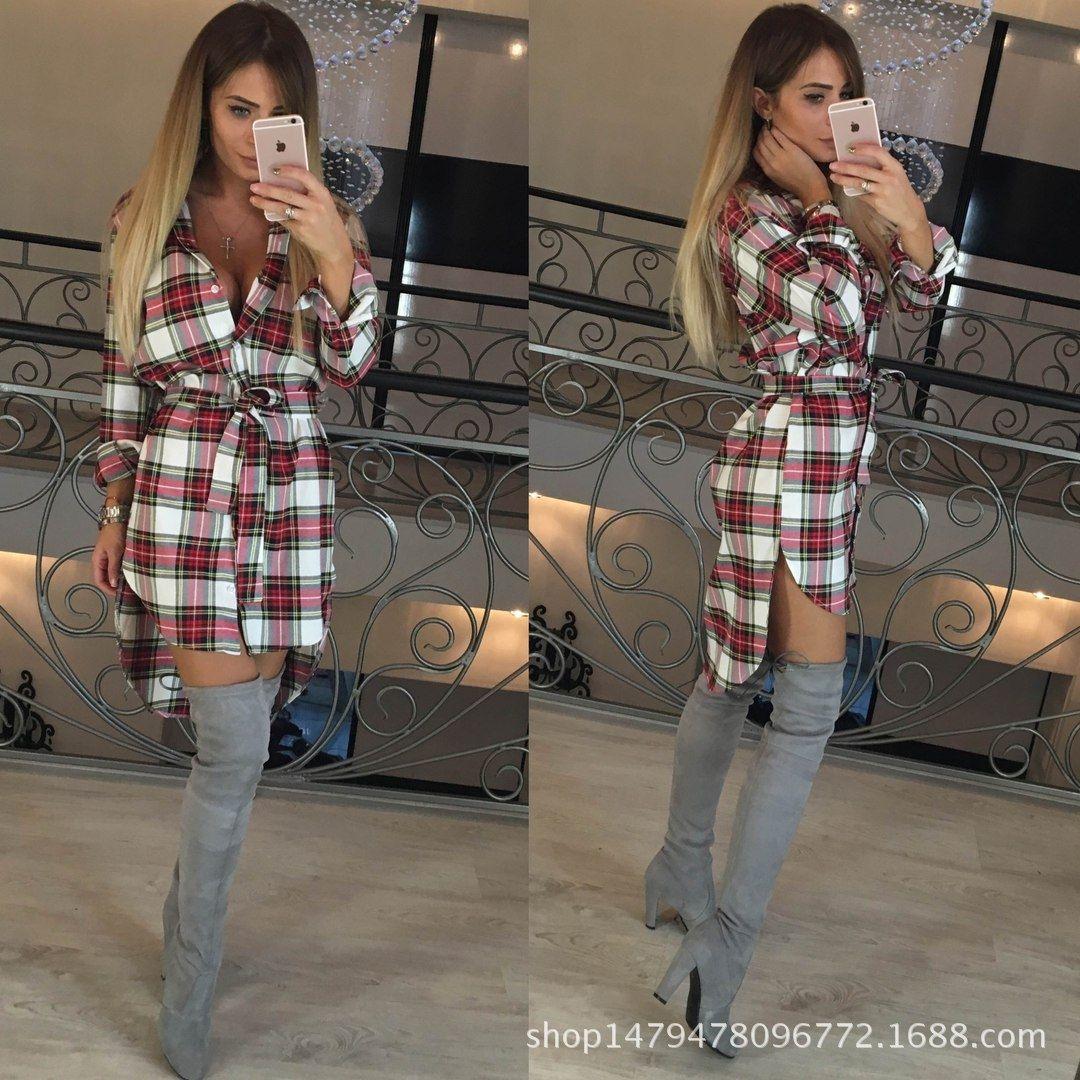 lapela de manga comprida vestido das mulheres Mid-comprimento camisa xadrez camisa de vestido das mulheres FC075 KEtJM
