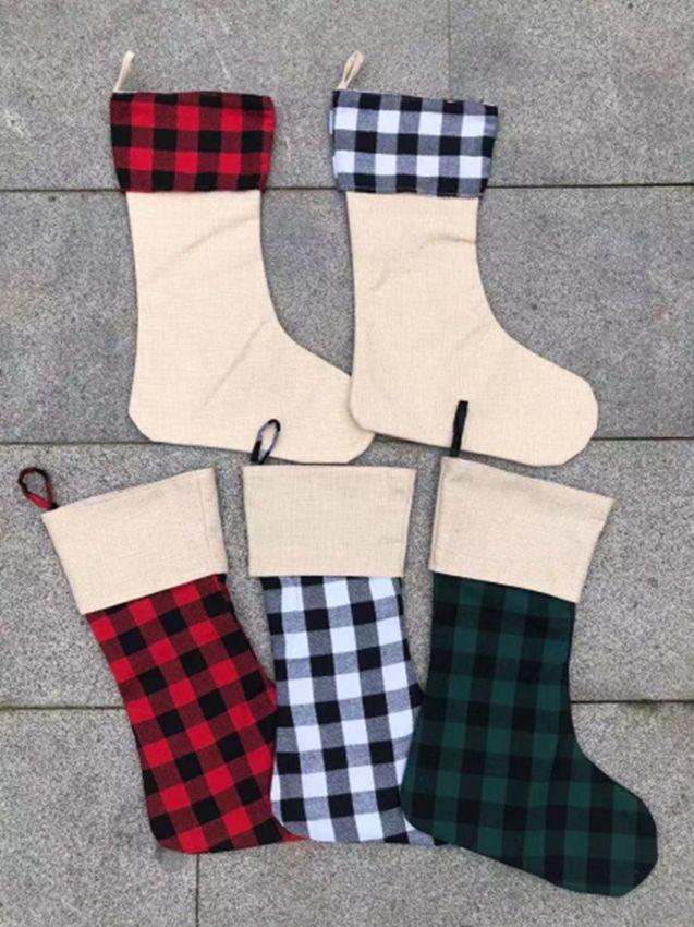 Meias de Natal Red Plaid Christmas Stocking Cotton búfalo flanela Black Christmas Decor Poly Sublimation espaços em branco de Santa Meias HWE619