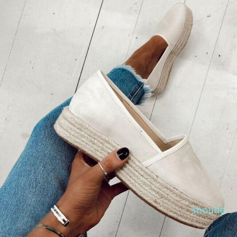 Flats Sale- на повседневные туфли толстые нижние Горячие дамы Холст обувь Женские скольжения ленивые мокасины женские Espadrilles Sqxod