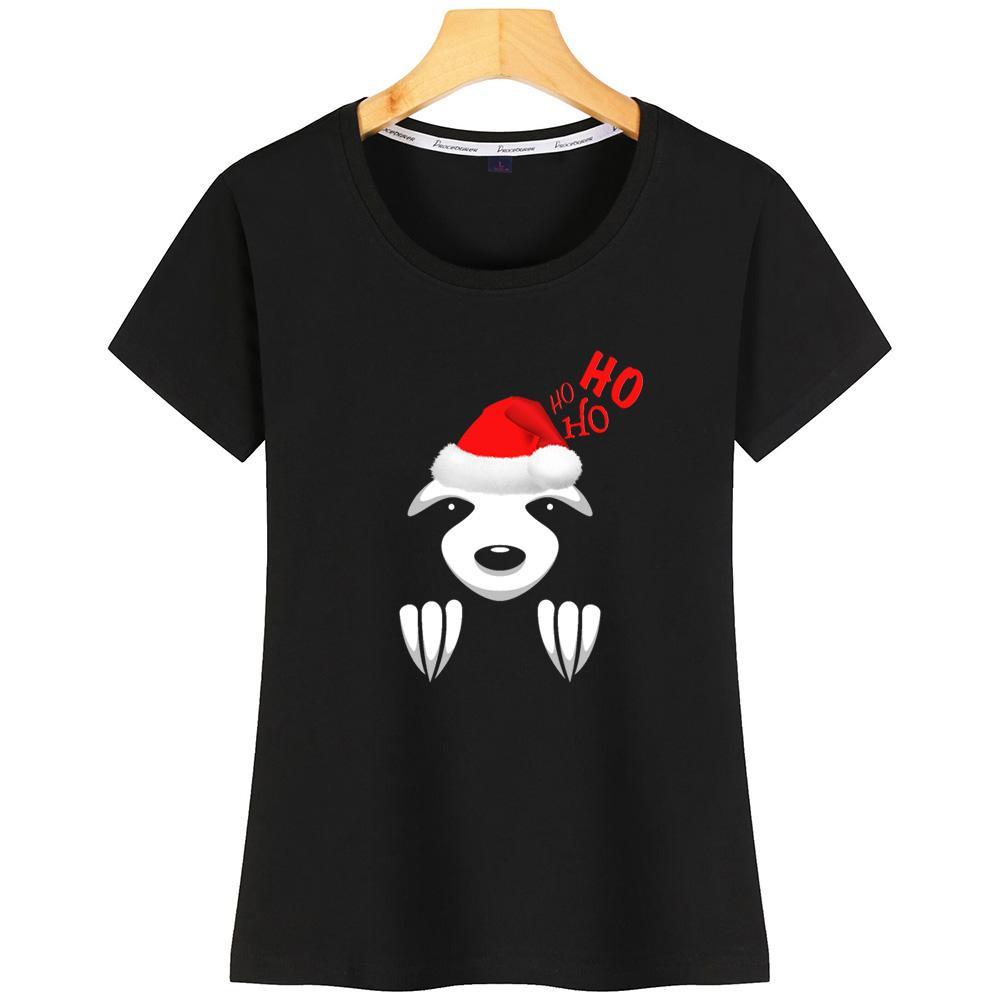 Preguiça de Natal engraçado mulheres camiseta Humor bonito em torno do pescoço de manga curta personalizado