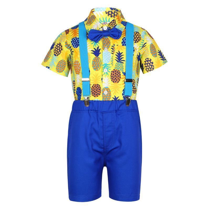 Дети Дети Мальчики Gentleman Outfit с коротким рукавом Ананас Печатный рубашка на пуговицах с Bow Tie шорты Комплект для Летнего Casual