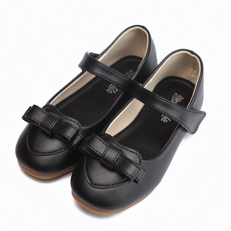 2020 Новые ДЕТСКИЕ Девушки Школа Обувь Kids Party Princess Dress Обувь Девушки Flat мягкая кожа Розовый Черный B1dS #