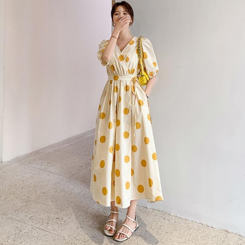 bsUcO Korean chic Sommer Französisch Kleid Polka Dot Schlankheits V-Ausschnitt Lace-up Taille einteiliges Platycodon grandiflorum Blase Hülse Kleid für Wome