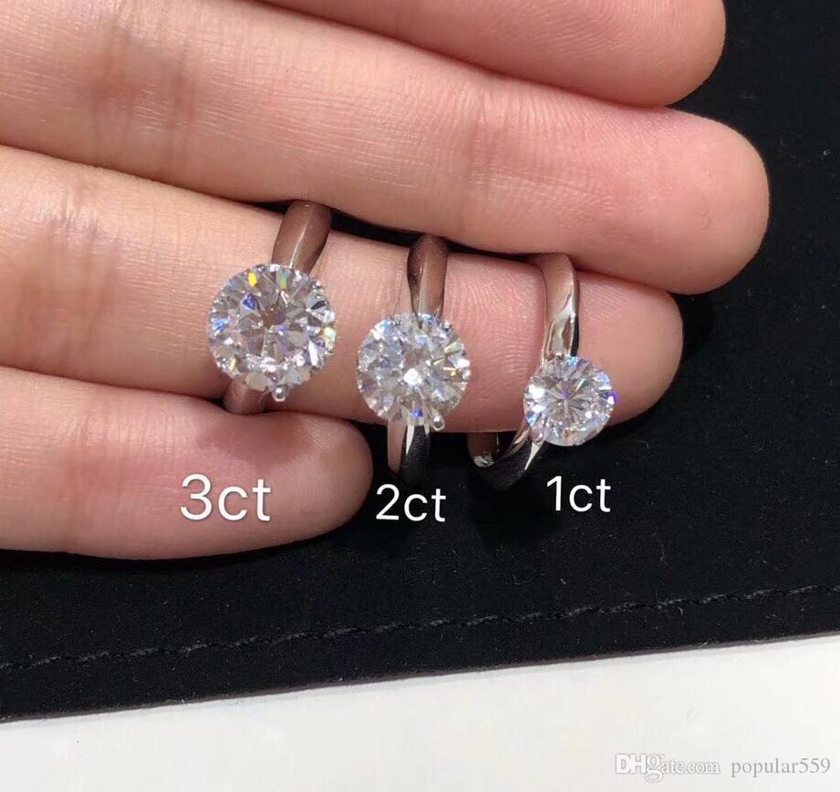 Avoir timbre 925 griffes en argent sterling 1-3 anneaux diamant carats moissanite femmes se marient ensembles de mariage de fiançailles cadeau de bijoux de style pandora