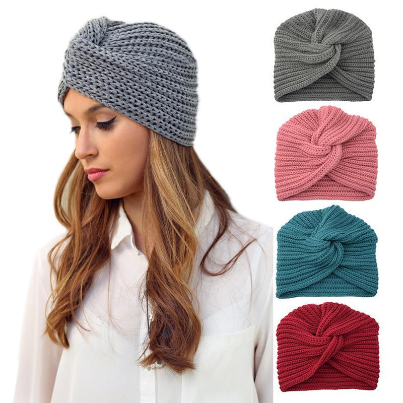 Nuovo nodo Bandane turbante Cappello archetto Autunno Inverno caldo lavorato a maglia Turbante Cap Solid Centro della Croce donne dell'involucro della testa delle sciarpe dei capelli