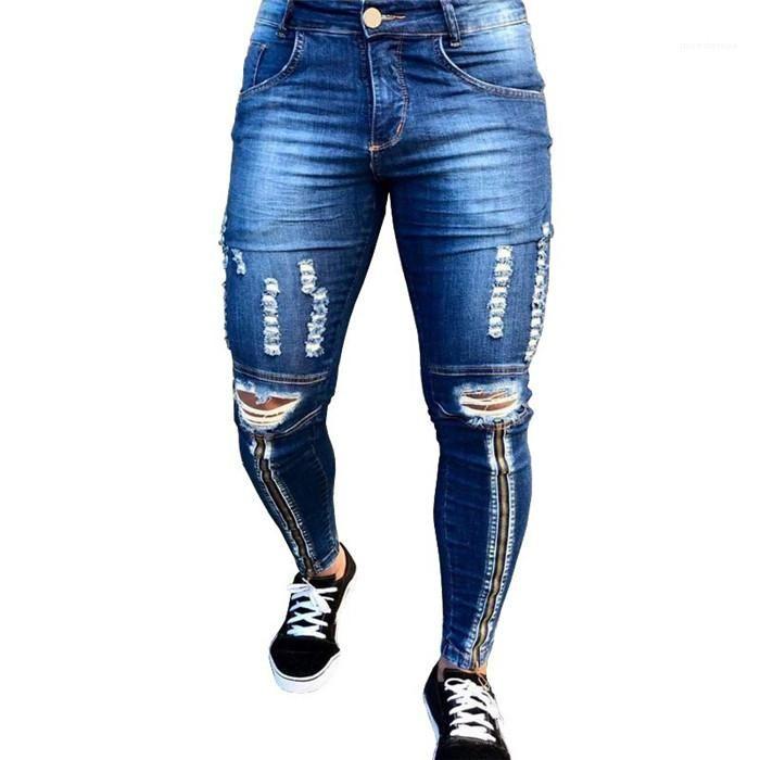 Slim Man Summer Jeans Denim Ripped léger Crayon Pantalons Washed Homme High Street Pantalons Casual Mens Zipper trou