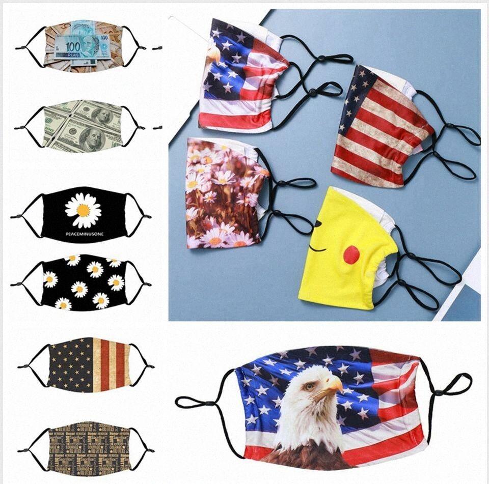 Maske Amerika-Flaggen-Gesicht staubdicht atmungsaktiv Waschbar Sunscreen Einstellbare Wiederverwendbare Bill Printing Masken Schutz LJJP310 71 Unzen #