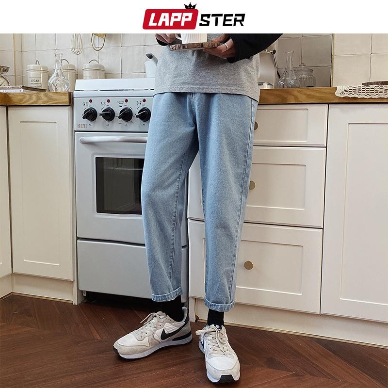 LAPPSTER Men Spring Black Korean Colors Jeans 2020 Mens Streetwear Blue Denim Pants Male Fashions Skinny Clothes Plus Size CX200815