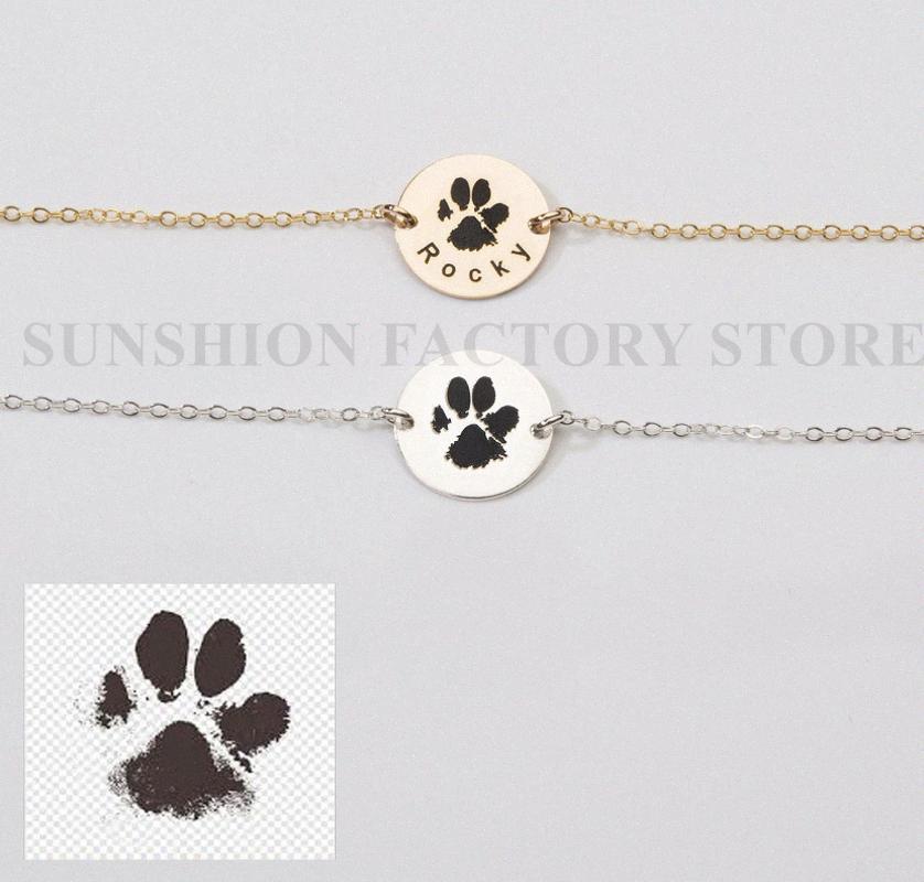 Actual Dog Cat Nose Imprimer Bracelet, bijoux pour animaux personnalisés, perte Gravé Memorial, Adoption Pet lover, Dog Cat Imprimer Bracelet 1g0E #