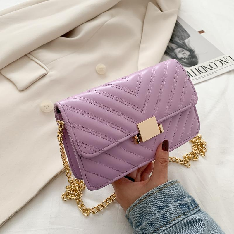 Bag Female 2020 Summer New Fashion All-match Embroidery Thread Chain Square Sling Bag Womens Single-Shoulder Crossbody Bag Wholesale