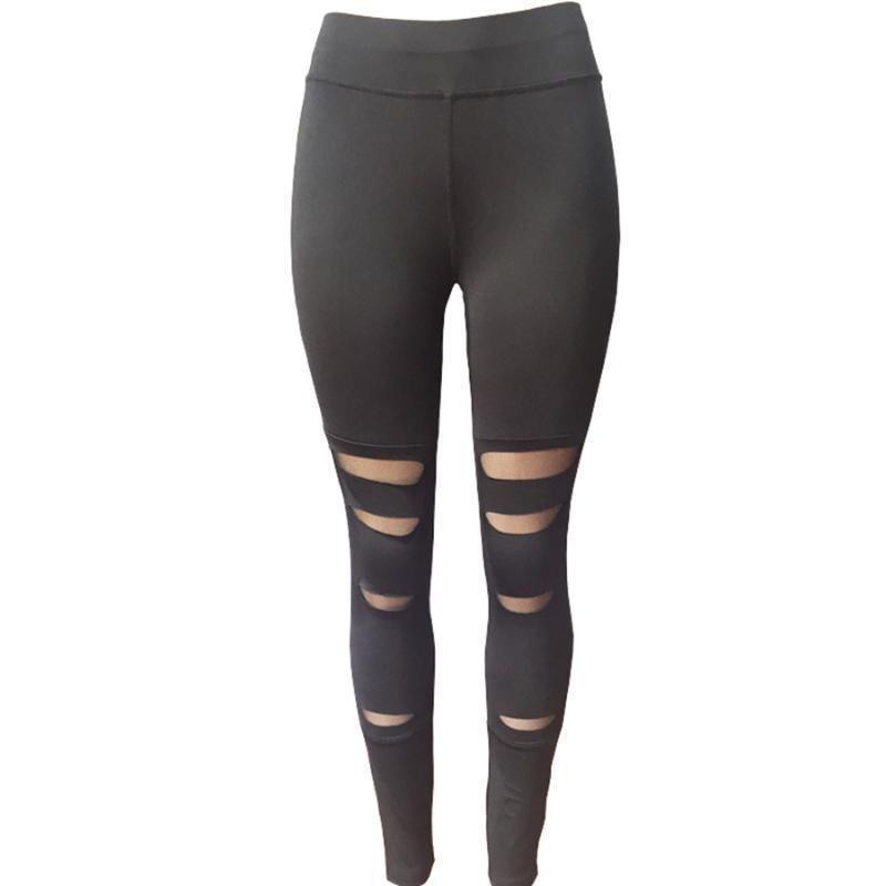 Женщины Sexy Black Hole Упругие Спорт Брюки Йога Брюки Леггинсы Бег колготок Спортивные леггинсы Gym Фитнес Йога одежды