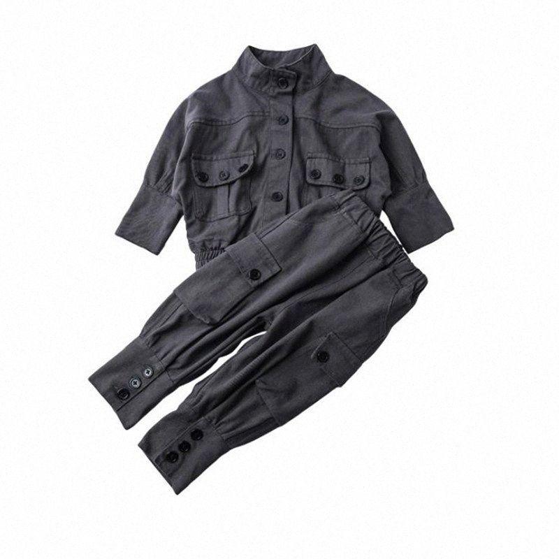 DFXD roupa dos miúdos Rapazes Raparigas Roupa Set Nova Primavera 2PC Jeans Outfit Set Locomotiva Denim Jacket + calça de algodão Carga Suit 1-7Yrs GR3I #