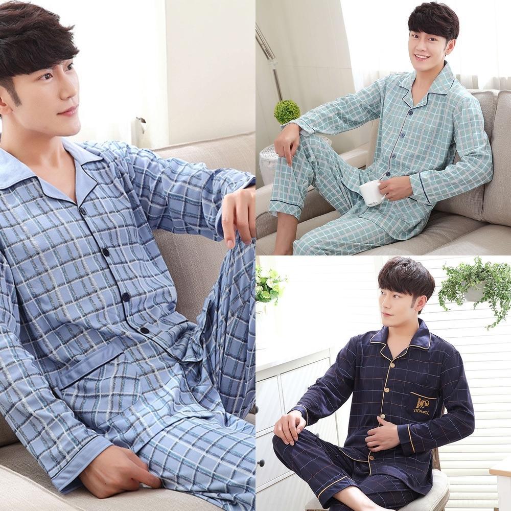 wftSS Sb0pH Erkekler hırka tarzı kollu ev Pamuk dolgulu pijama pantolonlar pijama uzun gevşek Koreli elbise sonbahar ve kış rahat erkek