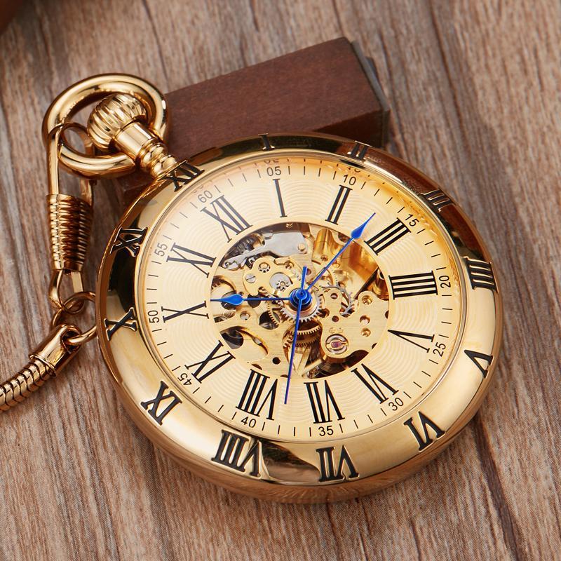 El cobre de lujo Silver mecánico automático del reloj de bolsillo del reloj Fob Cadena números romanos del reloj de los hombres del reloj de alta calidad de los relojes de bolsillo CX200819