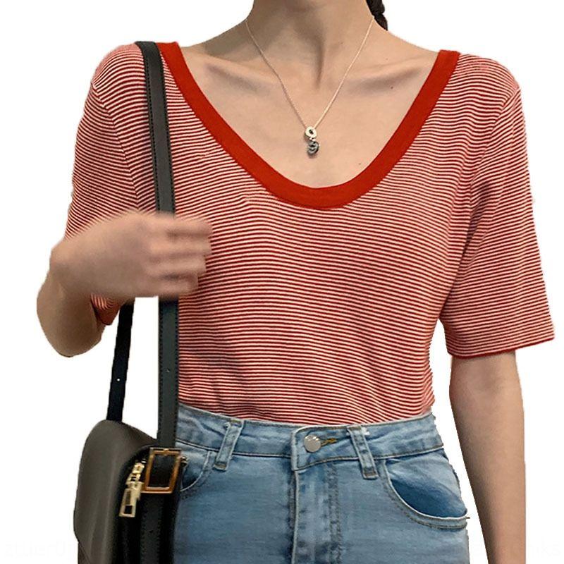 Internet célébrité T-shirt rayé à manches courtes en tricot haut dos nu féminin grand été des femmes T-shirt col rond U-col