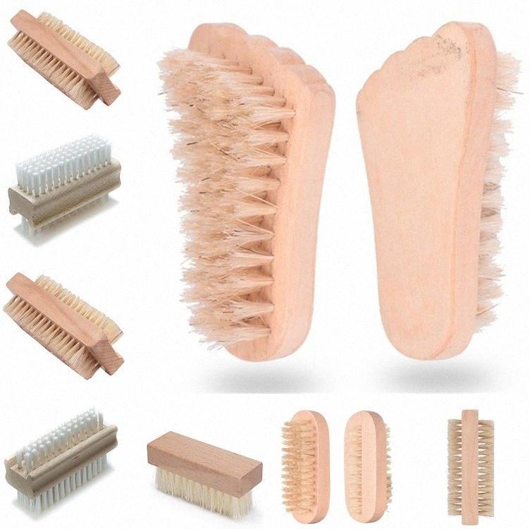 Pulizia della famiglia Attrezzi doppia faccia di setola PP spazzola del chiodo di legno spazzola di massaggio unghie pennello di setola naturale pulizia dei pennelli 6053 yBId #