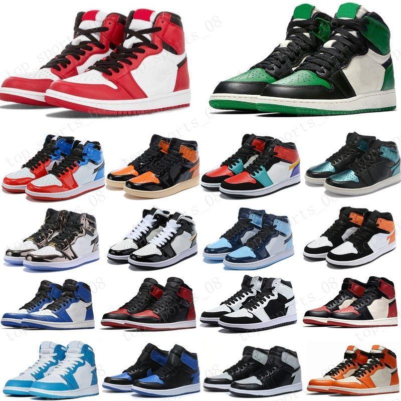 2020 الصنوبر الخضراء الأسود 1S أحذية كرة السلة Jumpman 1 السلالة الرجل مصمم أحذية رياضية بلا خوف حجر السج UNC براءات الذهب الأسود القدمين أعلى المدربين