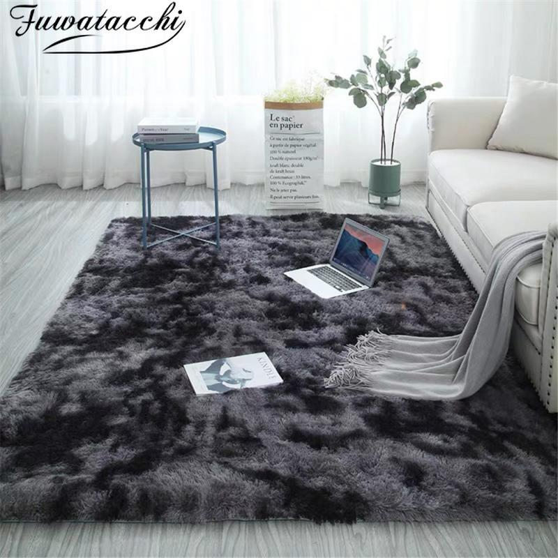 Fuwatacchi Plush Fur Carpets Tie Dyeing Soft Pads for Living Room Bedroom Floor Pink Mat Water Absorption Carpet Rugs Home Decor