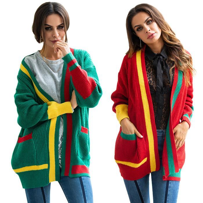 Mulheres listrado colorido bolso Cardigans Outono Inverno Chirstmas Festival solto blusas casacos de malha de alta moda