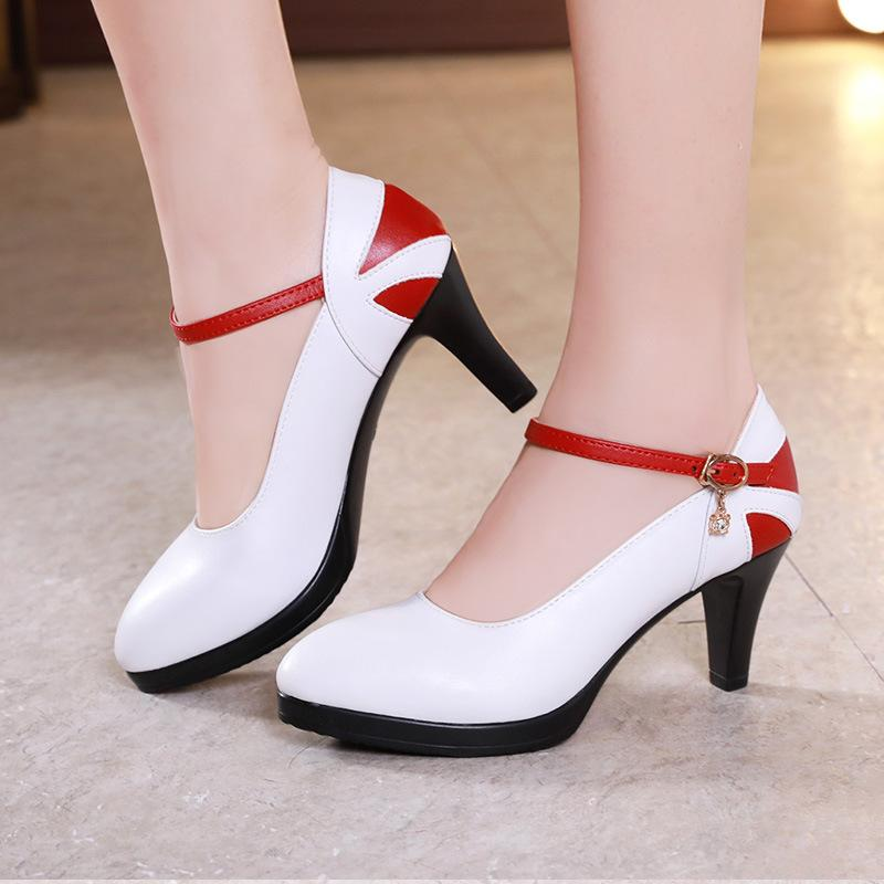 2020 model cheongsam high-heeled shoes female fine with pointed color matching shallow mouth dancing shoes dance female