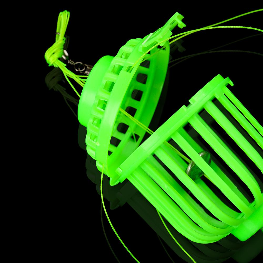 Luminous Fishing Hooks Trap Fish Bait Baskets Feeder with 6 Steel Hook Carp Spherical Explosion Hook at night Fluorescence Tackle Lure Cages