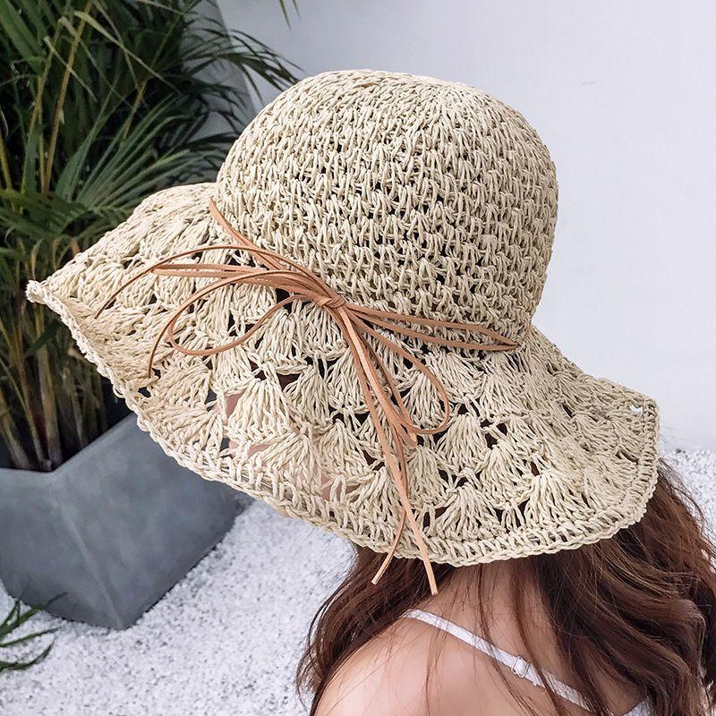 Sombrero de sol Mujer aire libre del verano del sombrero de paja de ala ancha Pescador huecos ajustables Beach protectora sombreros para mujeres