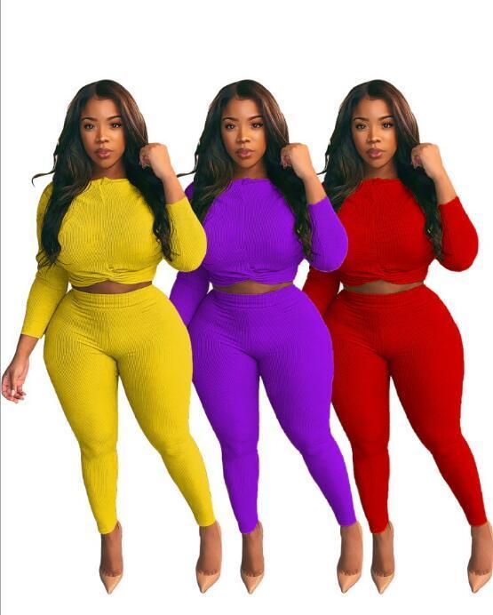 Conjunto de las mujeres más el tamaño L-4XL de punto de la manga larga de la manga tops traje del basculador sweatpant de dos piezas traje de deporte correspondiente conjunto