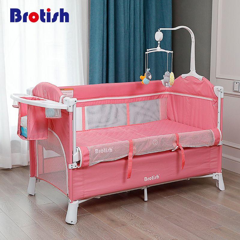 접을 수있는 아기 침대 유럽 접는 아이들 침대 큰 게임 아기 다기능 휴대용 요람 0-6 년에 대 한 오래 된 아기
