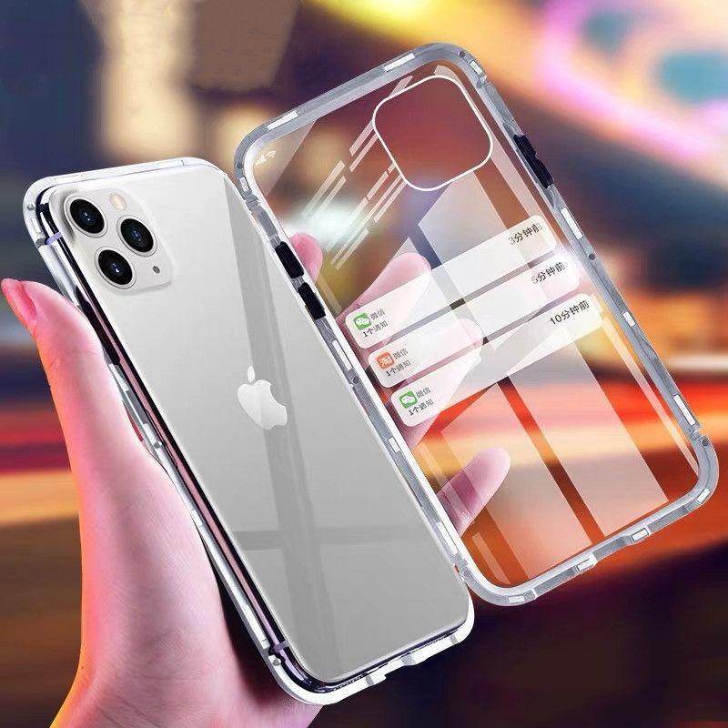 Magnetische adsorptie metalen + gehard glas ingebouwde magneet telefoon harde case flip cover voor iPhone 12 pro max 11 xs xr x 8 7 6 6 s plus SE 2020