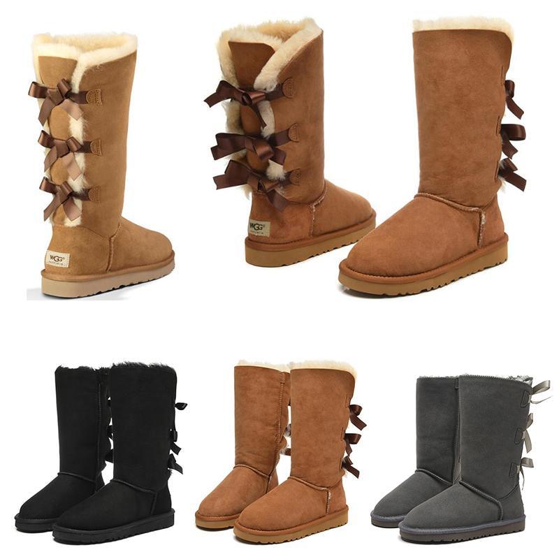 새로 도착 신발 여성 소녀 클래식 스노우 무릎 부츠 3 활 모피 부팅 겨울 검은 gery 밤나무 여자 패션 야외 크기 5-10