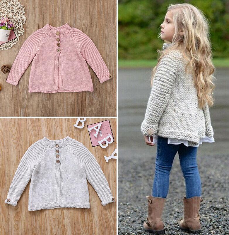 Mode-Kind-Mädchen-Langarm Mantel Pullover Strick Massiv Mantel 2020 neue Herbst-Winter-Kleidung Outfits 1-8Y