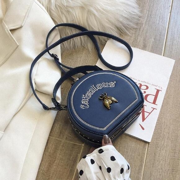 Nouveau style femmes Sac mode broderie abeille Sacs à bandoulière petit sac à main avec Lettre ronde # Is8H Crossbody