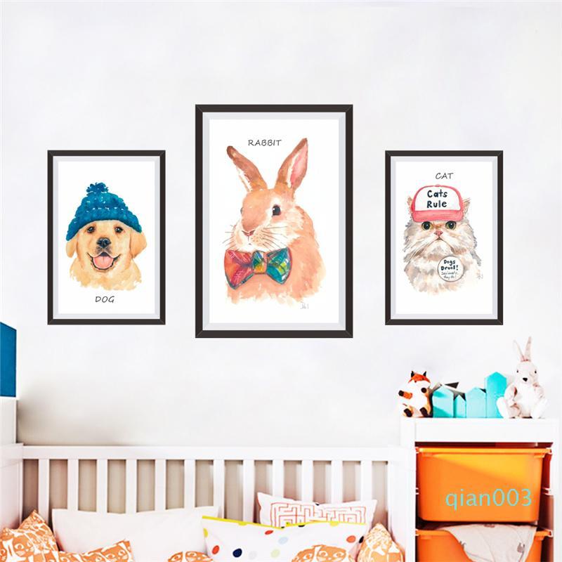 3pcs Große lustige Katze Hund DIY-Rahmen-Wand-Aufkleber für Büro Wohnzimmer Schlafzimmer Wandkunst Hauptdekor PVC-Wandaufkleber