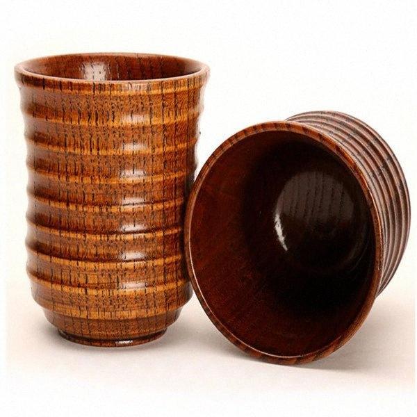 Beber Copa de madera Botella Estilo retro de madera Agua Jugo de la cerveza taza de té de la leche Taza de la moda Vasos WY315Q Ez6v #