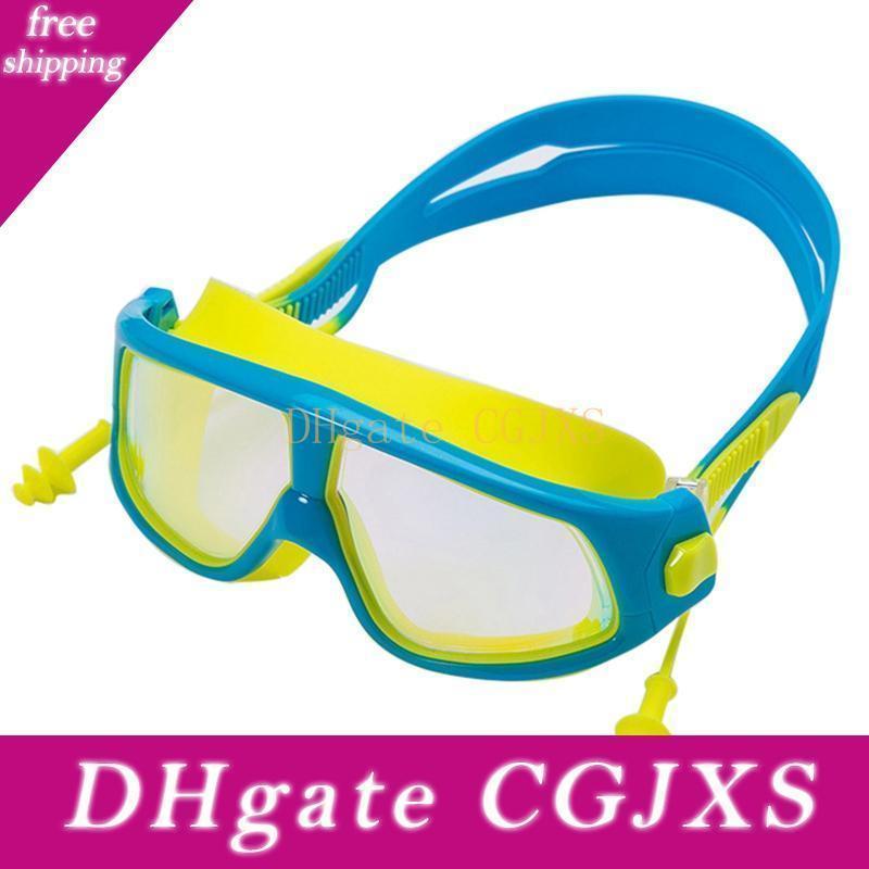 Дети Electroplated плавательных очков объектив Водонепроницаемого Анти -Fog Регулируемых очки очки С Earbuds