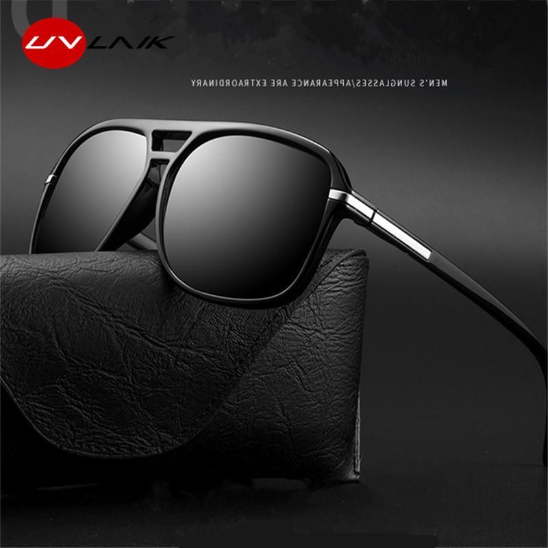UVLAIK lunettes de soleil polarisées hommes surdimensionné Miroir Rectangle Driving Lunettes de soleil Marque Designer Pilote Sunglass UV400 Lunettes