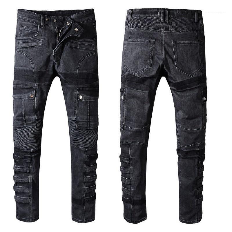 Bandage Décoration Pantalons Hommes Crayon Bouton caché plissés luxe Jeans Hommes Designer Brand Jeans Fashion Beaucoup
