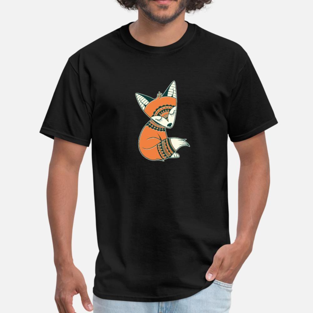 Fox tribale uomini della maglietta design manica corta formato più 3XL homme camicia grafica divertente Spring Family