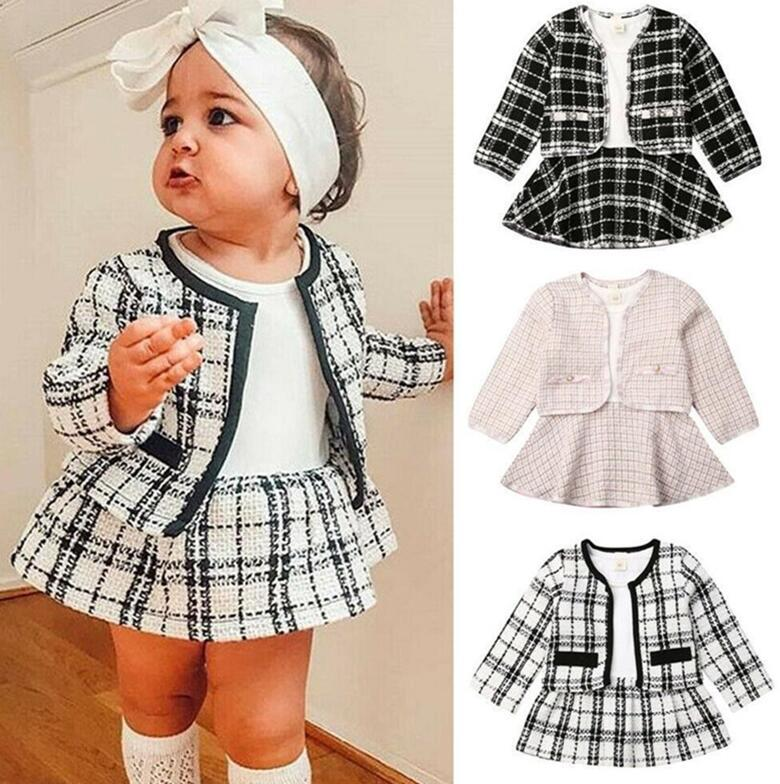 Hot Luxurys Princess Suit Cardigan + Skirt two-piece Suit Designers Kids Clothes Baby Long Sleeve Sweaters Boutique Children Clothing D82802