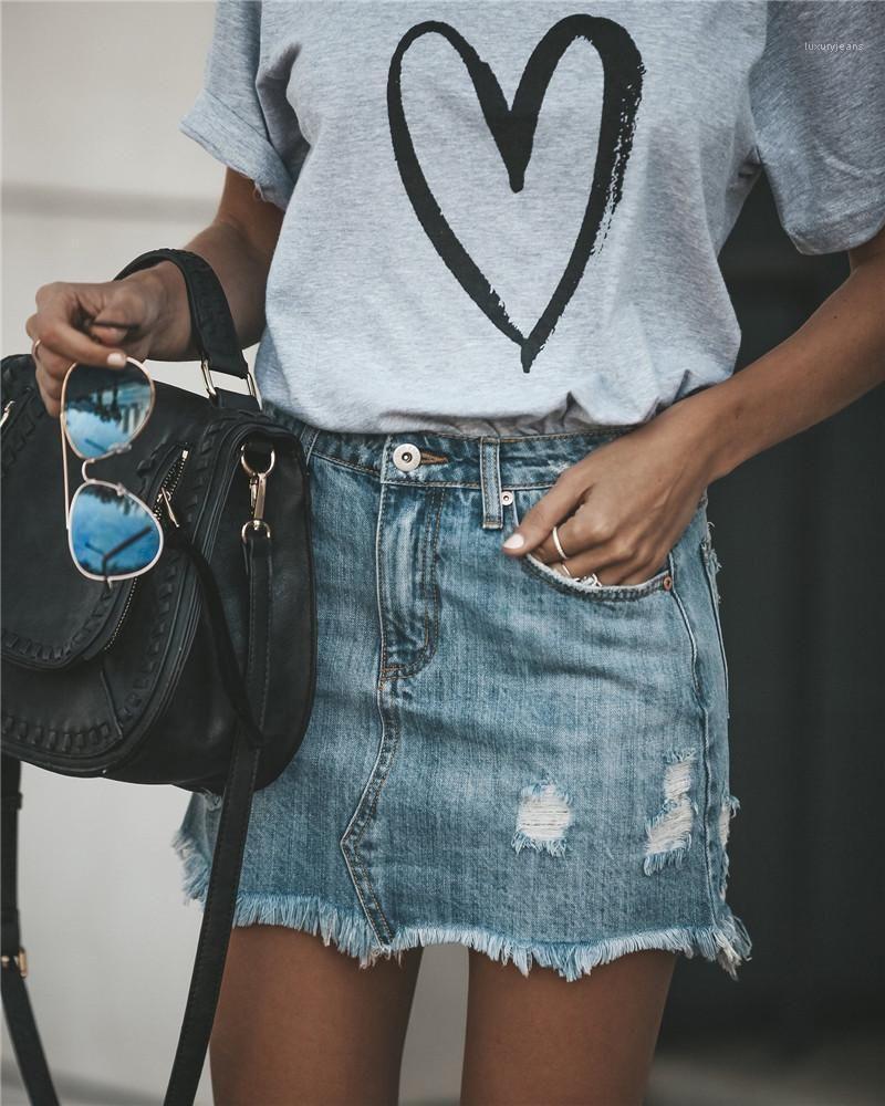 Magliette solto Pano Moda Casual Donna Tees Amor Coração Imprimir mulher camisetas Designer Summer manga curta