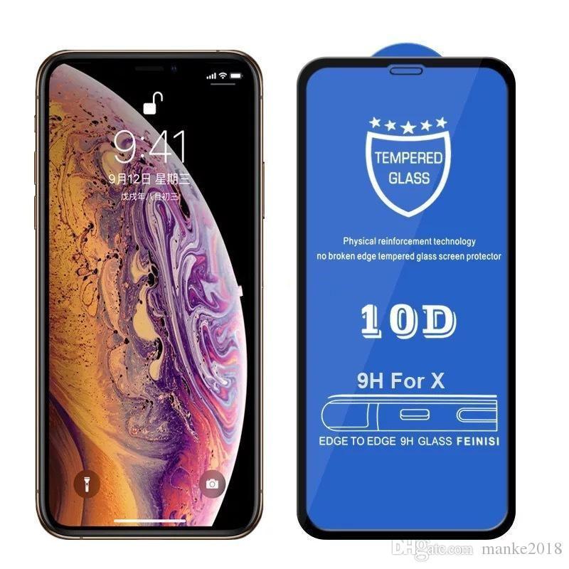 9H-Schirm-Schutz 10D Ausgeglichenes Glas Hard Edge-Telefon-schützExplosionsGeschützte Full Cover-Film für iPhone 11 Pro Max XS XR X 8 7 6 6S