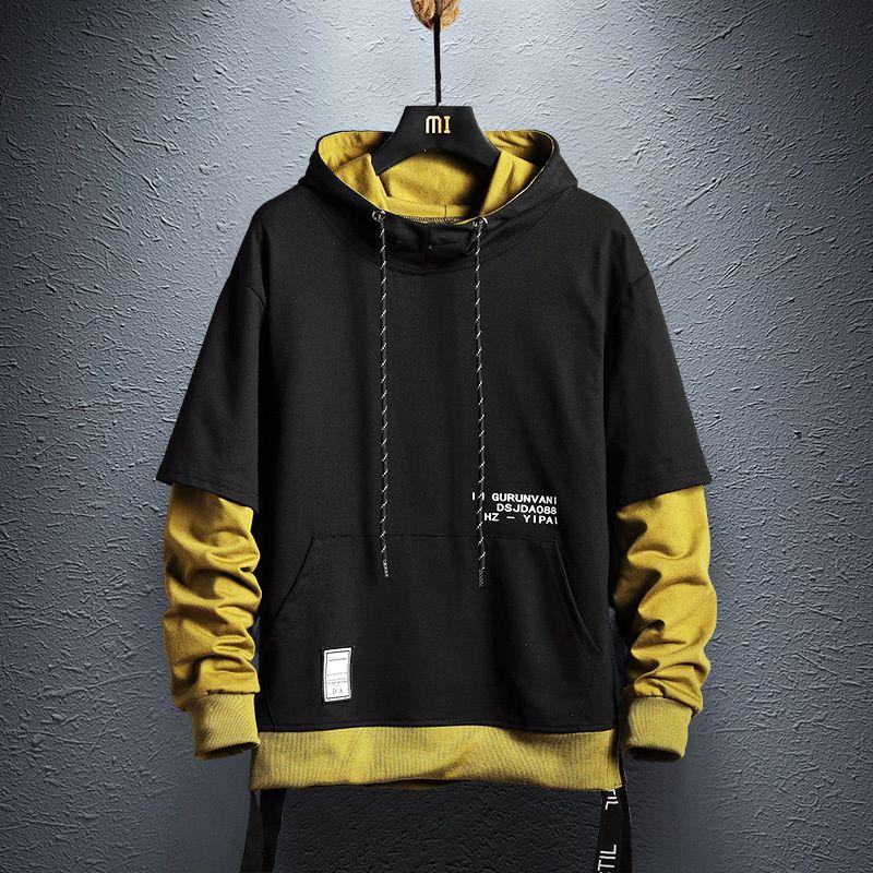 2019 Automne Nouveau Arrivée Sweatshirt Mode Hommes Patchwork Hoodies Hommes Casual Lettre Sweats à capuche Hip Hop Sweats à capuche US Taille MX200813