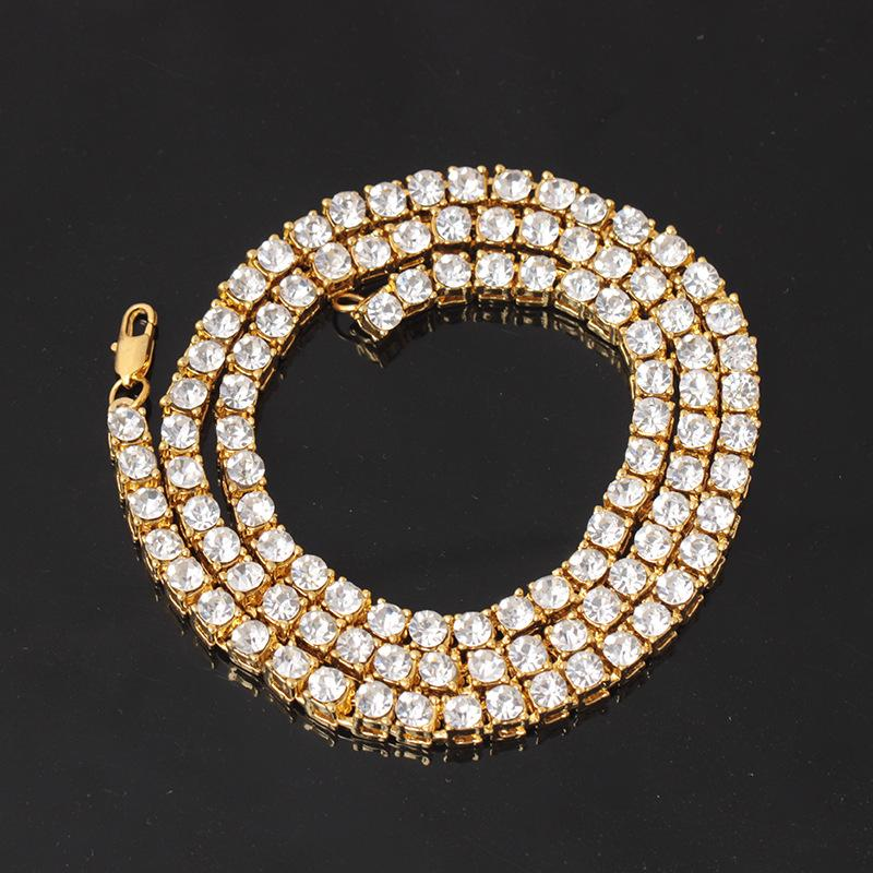 5 mm breit Hip Hop Bling Out 1 Row Strass Tennis Kette Halskette Gold-Silber-Farben-Halsketten für Männer Schmuck