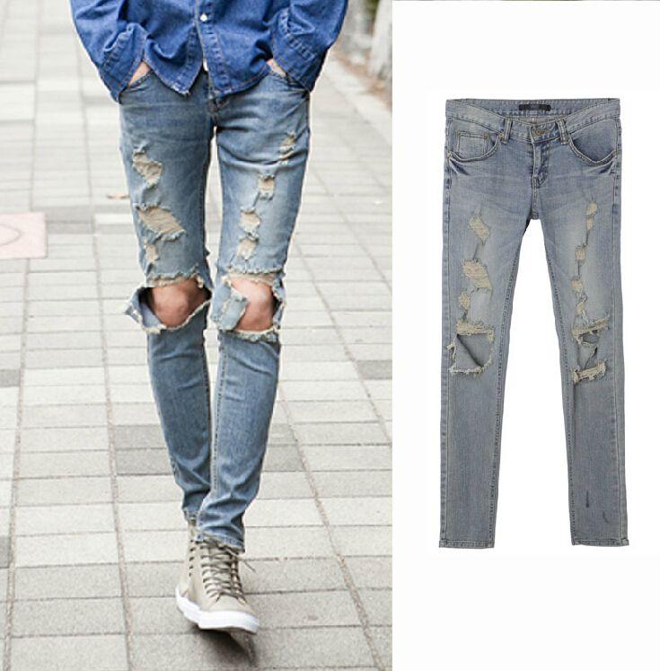 Nuovo GD destra Zhilong europeo US neutro strada joker grande buco in costumi cantante piedi pantaloni fase pantaloni da uomo il jeans al ginocchio