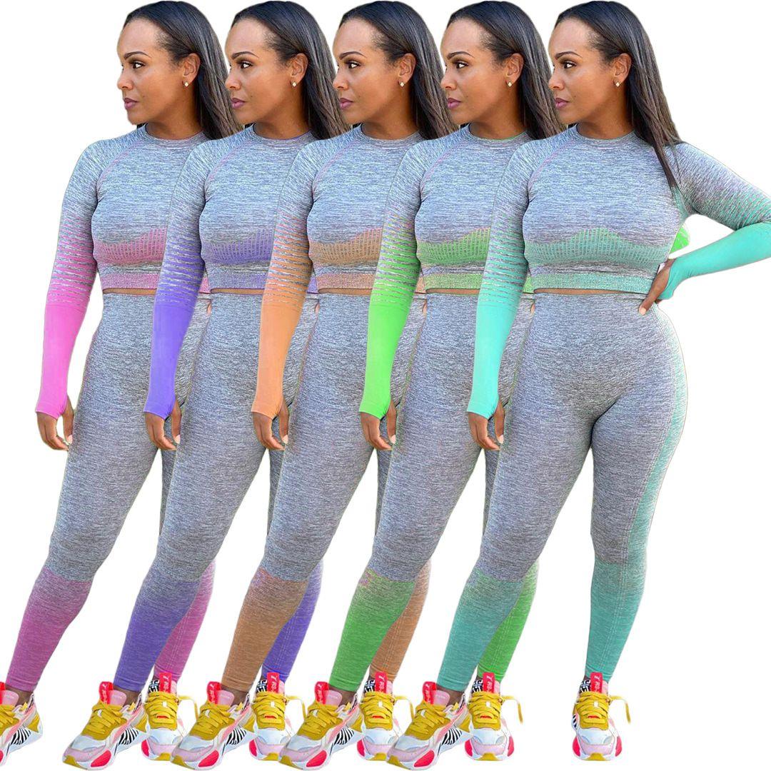 20FW Grey Kadınlar Tracksuits Casual Uzun Kollu O Boyun Skinny İki Adet Kıyafetler Yeni Kadınlar 2 Adet Set