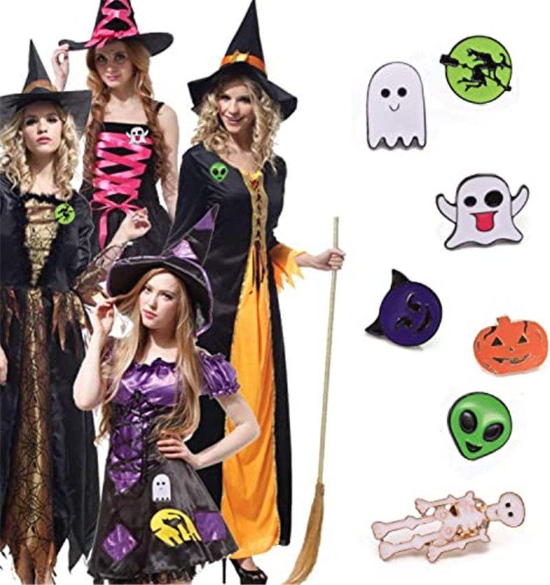 Хэллоуин броши Skeleton / Призрак / Witch / Тыквенные Pin Жетоны 7 Designs Брошь штыри отворотом для Halloween Party Благоприятная Подарки