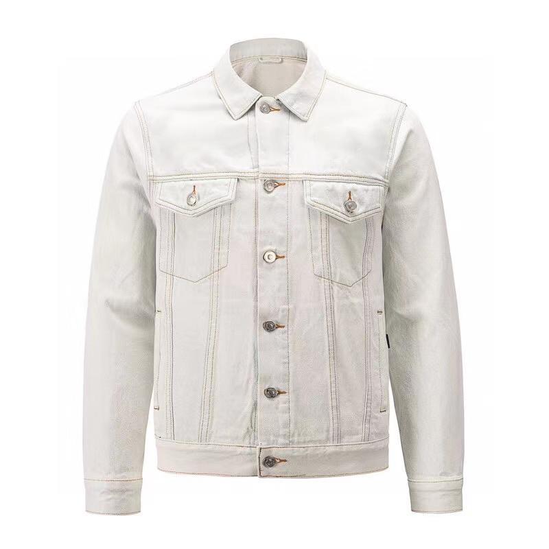 Высокое качество моды мужчин денима куртка мужчин манжетным пригонки джинсовой размер куртки пальто S XL