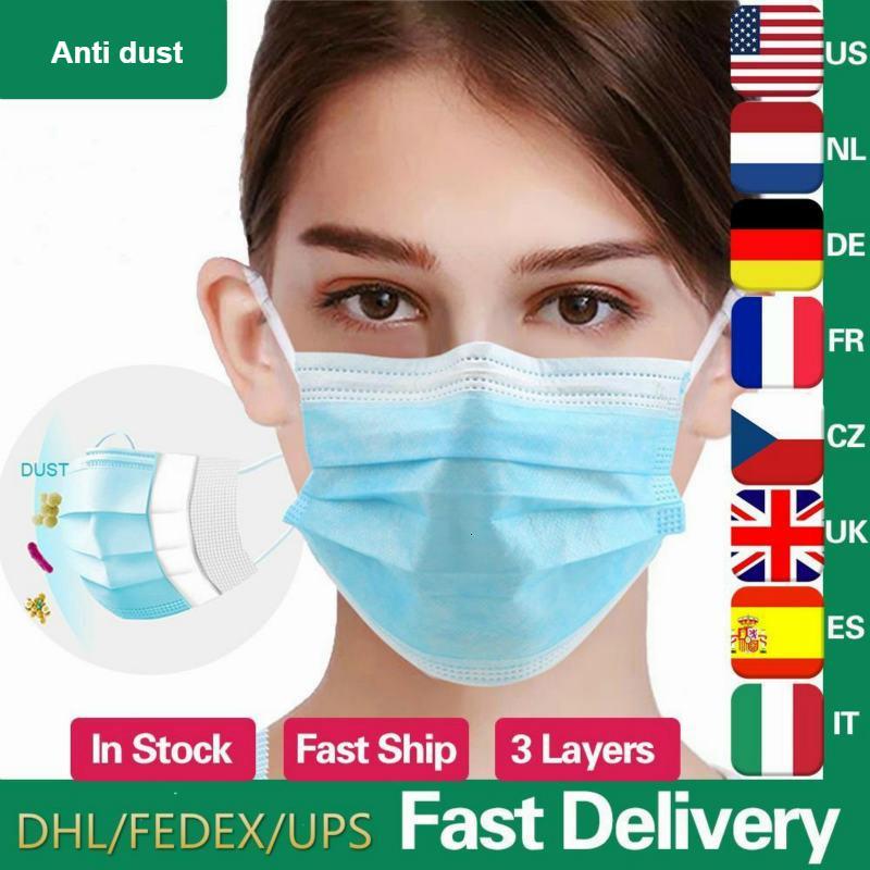 3-ply não na descartável Stock! 3-7 dias Máscara tecidos faciais de protecção 3 Camadas Earloop Anti-poeira máscaras azul