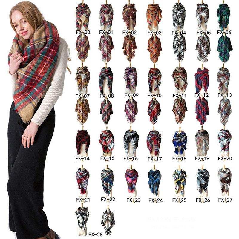 Thermal Ladies Scarf Fall Winter Imitation Cashmere Double-side Colorful Print Plaid Stripe Square Scarf Tassel Classical Shawl VT1551